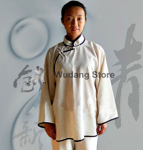White Diagonal Tai Chi Shirt with Outerlines - Wudang Store