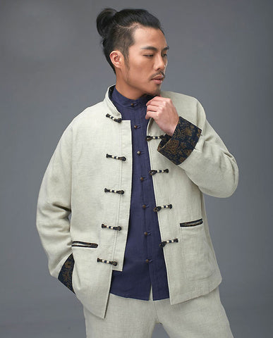 Casual White Tai Chi Jacket with Traditional Pankou Buttons