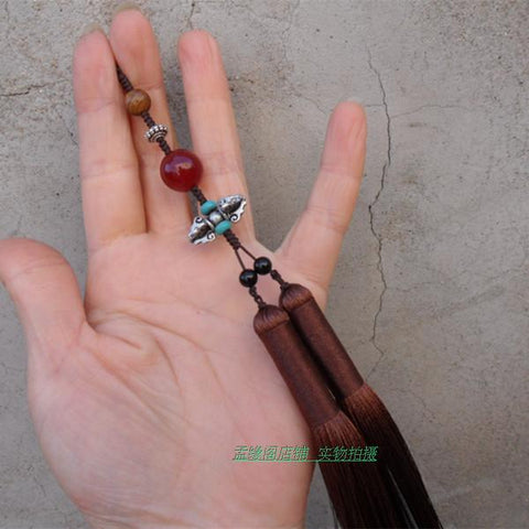 Brown Tai Chi Sword Tassel with Beads - Wudang Store