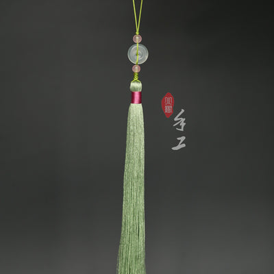 Natural Jade Sword Tassel with Round Stone 3 Colors