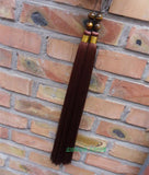 Brown Extra Long Tai Chi Sword Tassel with Tiger Eye Beads - Wudang Store