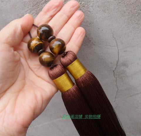 Brown Extra Long Tai Chi Sword Tassel with Tiger Eye Beads