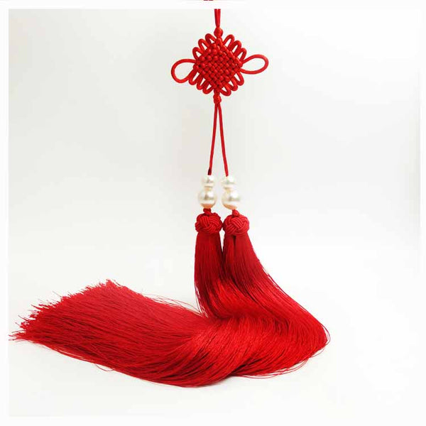 Traditional Red Sword Tassel with Chinese Good Luck Knot - Wudang Store