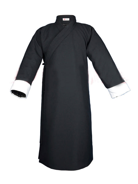 Wudang Taoist Winter Coat with Overlap Collar and White Cuffs - Wudang Store