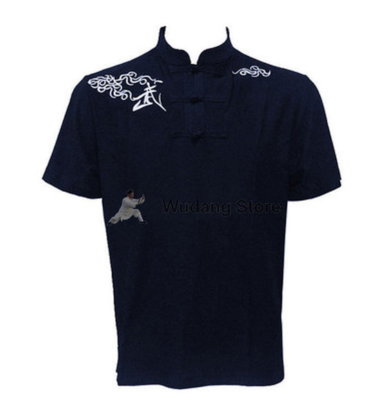 Navy Blue Short Sleeve Martial Arts T-Shirt - Wudang Store