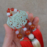 Red Hand-Carved Jade Stone Pendant Tai Chi Jian Tassel - Wudang Store