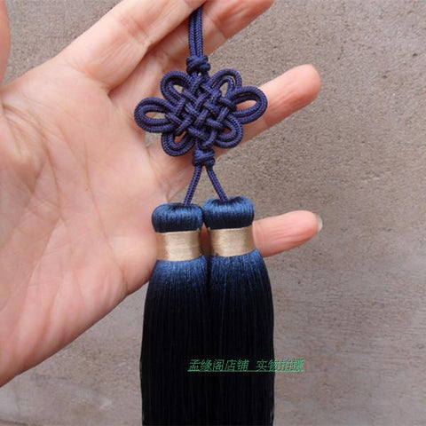 Navy Blue Chinese Knot Wudang Tai Chi Sword Double Tassel