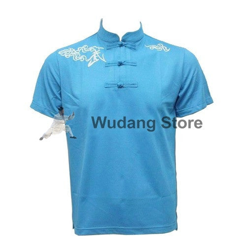 Blue Short Sleeve Martial Arts T-Shirt - Wudang Store