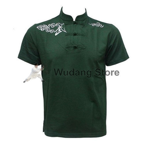 Dark Green Short Sleeve Martial Arts T-Shirt - Wudang Store
