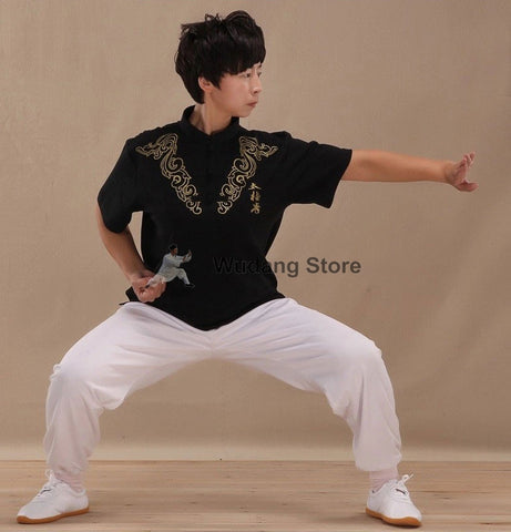 Black Short Sleeve Cotton Tai Chi Shirt
