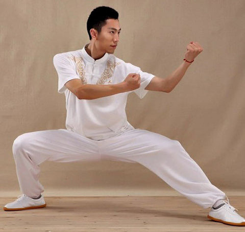 White Short Sleeve Cotton Tai Chi Shirt - Wudang Store