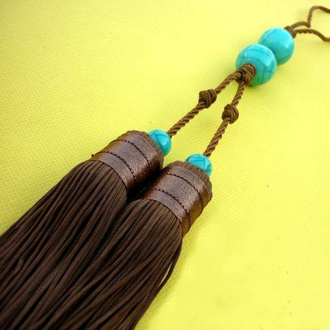 Classical Sword Double Tassel with Turquoise Imitation Beads 4 Colors - Wudang Store