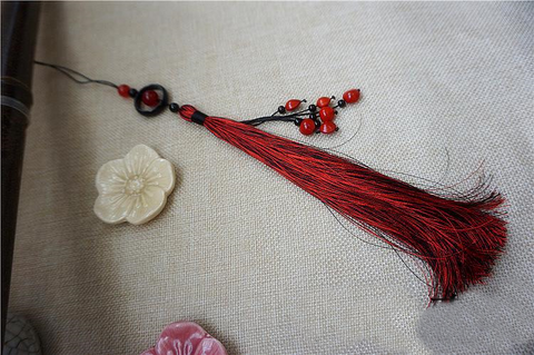 Red Ancient Sword Tassel with Natural Agate & Onyx - Wudang Store