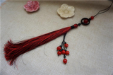 Red Ancient Sword Tassel with Natural Agate & Onyx