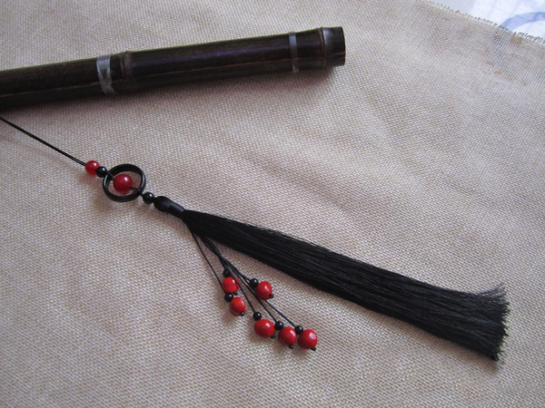 Black Ancient Sword Tassel with Natural Agate & Onyx