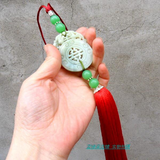 Decorative Chinese Hand-Carved Jade Stone Red Tai Chi Sword Tassel