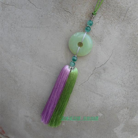 Taiji Jian Tassel with Natural Jade Stone