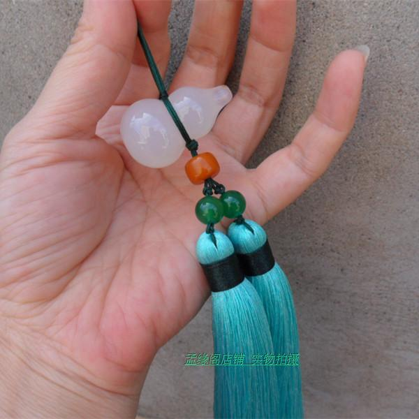 Turquoise Tai Chi Jian Tassel with Agate Stone Chinese Bottle-Gourd