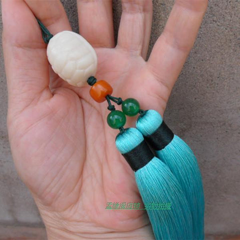 Turquoise Tai Chi Jian Tassel with Agate Stone Chinese Turtle