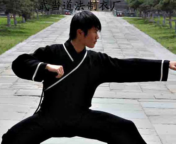 Wudang Taoist Kung Fu Shirt Black with White Outlines