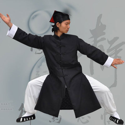 Classical Wudang Long Winter Coat with White Cuffs - Wudang Store