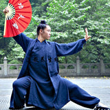 Navy Blue Taoist Uniform with Overcoat