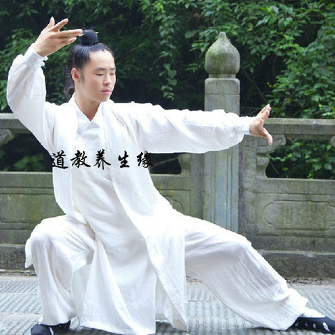 White Taoist Uniform with Overcoat