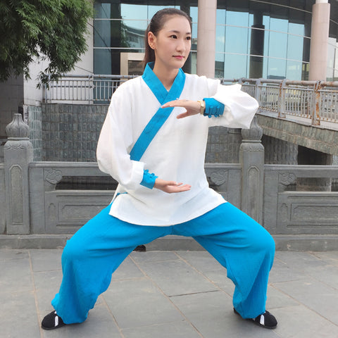 White and Sky Blue Taoist Uniform