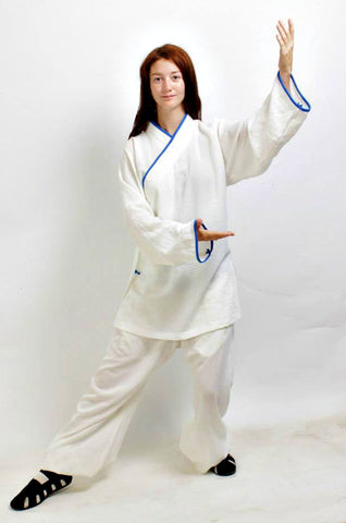 White Taoist Uniform with Thin Outerlines