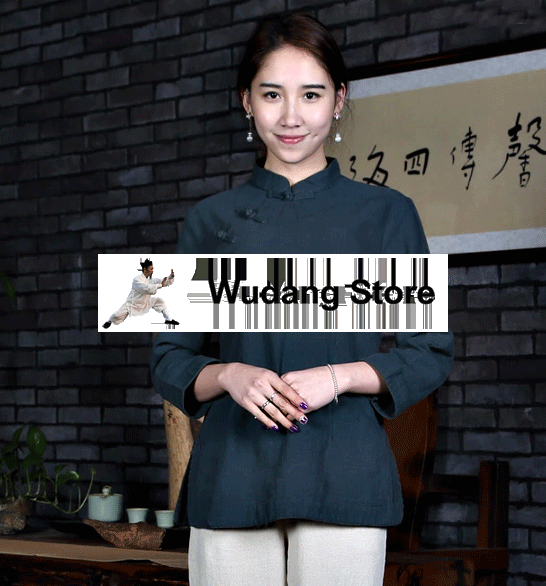 Oak Green Overlap Tai Chi Shirt for Women - Wudang Store