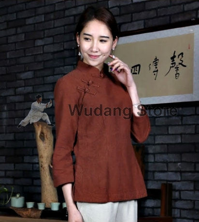 Brick Red Overlap Tai Chi Shirt for Women