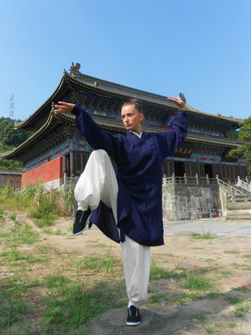 Dark Blue and White Taoist Uniform