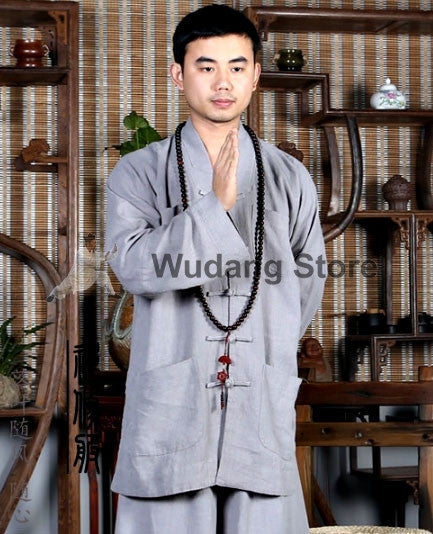 V-Neck Grey Tai Chi Shirt - Wudang Store
