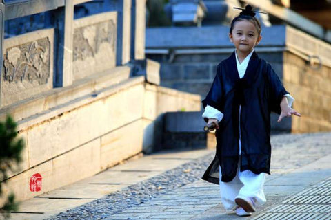 White Taoist Uniform with Black Overcoat for Kids