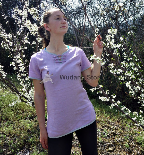 Bamboo-Cotton Purple Summer Tai Chi Shirt