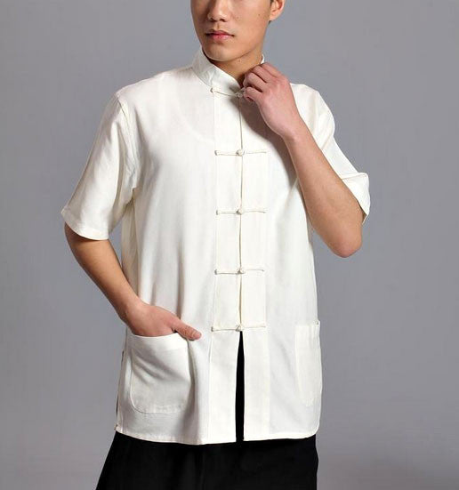 White Short Sleeved Tai Chi Shirt - Wudang Store