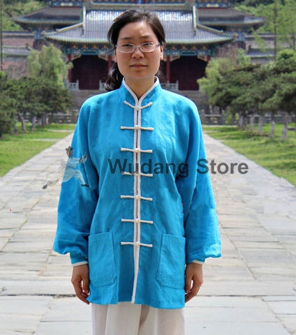 Sky Blue Tai Chi Shirt with Outerlines - Wudang Store