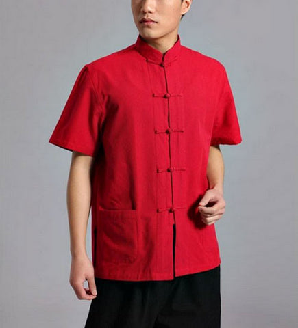 Red Short Sleeved Tai Chi Shirt - Wudang Store