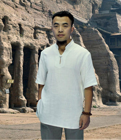 One Button White Short Sleeved Tai Chi Shirt - Wudang Store