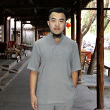 grey one button tai chi shirt
