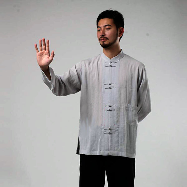 Double Buttons Grey Tai Chi Shirt - Wudang Store