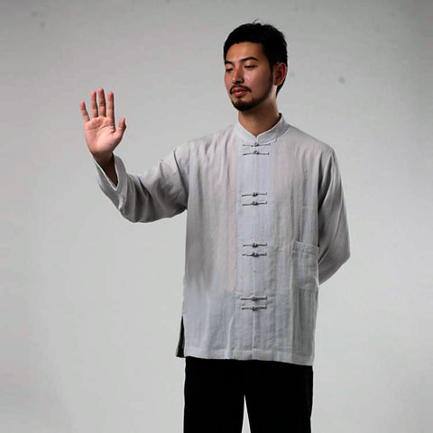 grey tai chi shirt