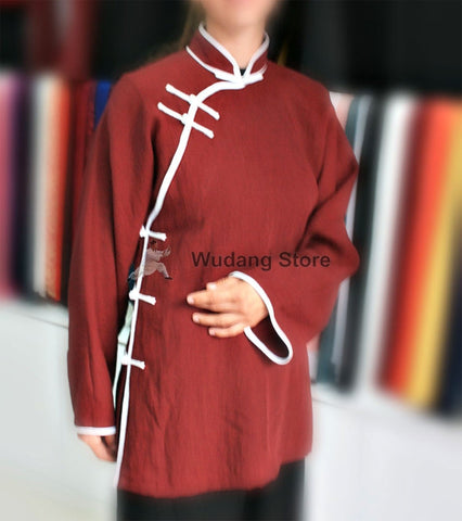 Diagonal Maroon Tai Chi Shirt with Outerlines - Wudang Store