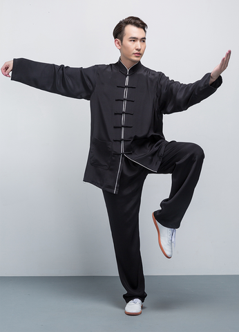 100% Real Silk Black Tai Chi Uniform with Outlines
