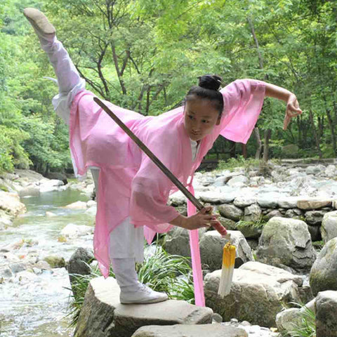 White Taoist Uniform with Pink Overcoat