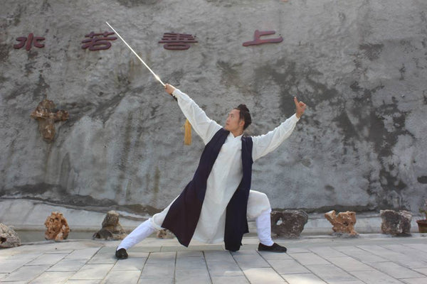 White Taoist Uniform with Dark Blue Overcoat