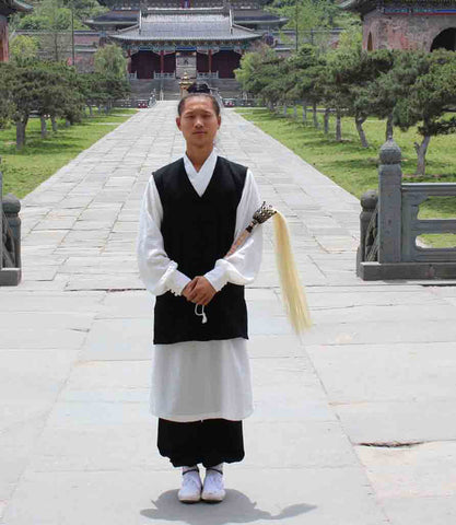 White Taoist Uniform with Short Black Overcoat