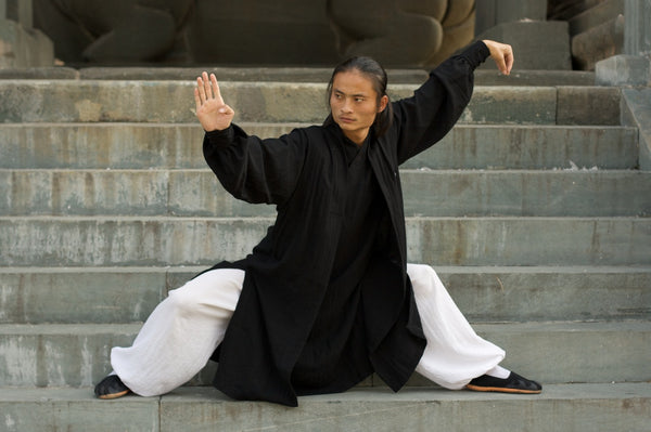 Black and White Taoist Uniform with Overcoat