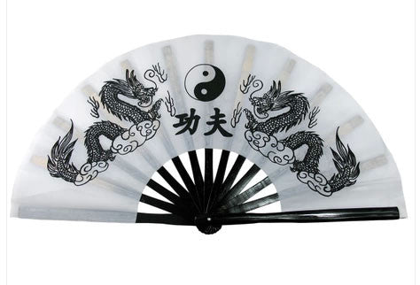 Tai Chi Fan Yin-Yang Dragon White - Wudang Store