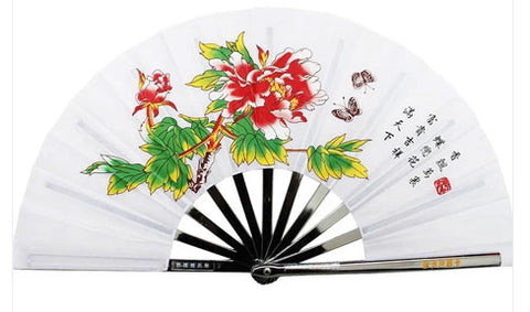 White Metal Tai Chi Fan With Peony - Wudang Store
